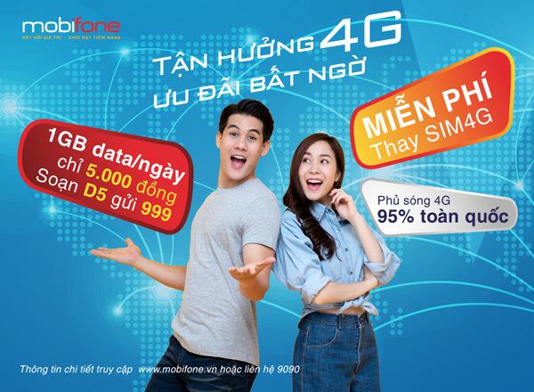 Tận hưởng 4G, ưu đãi bất ngờ của MobiFone