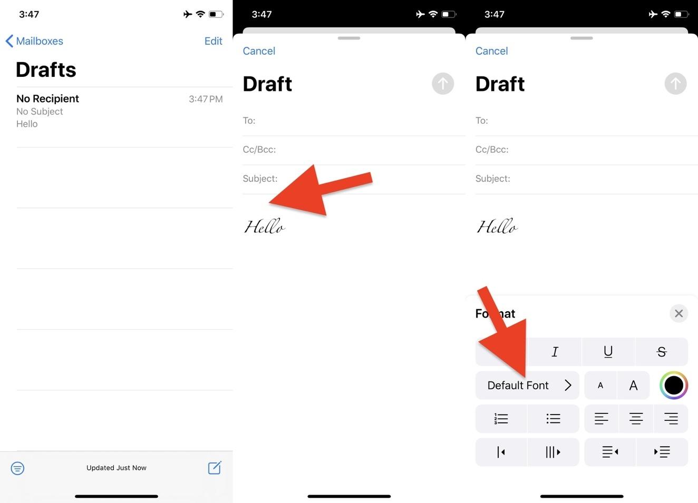 Cách khôi phục phông chữ mặc định khi soạn email trên iOS 13
