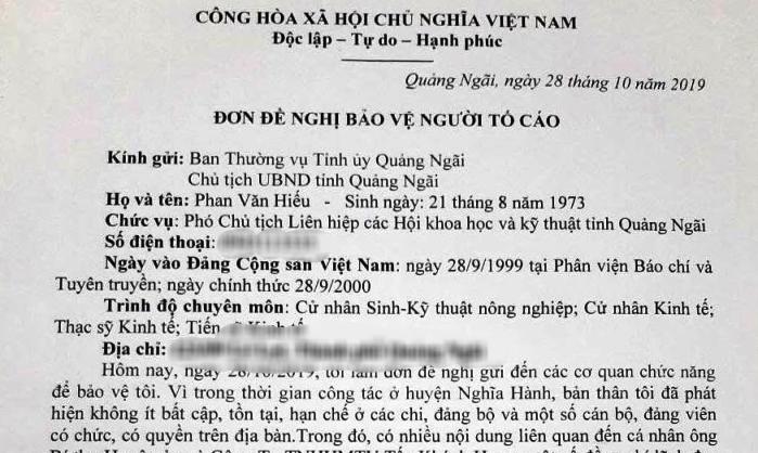 Phó Bí thư tỉnh Quảng Ngãi lên tiếng vụ người tố tiêu cực bị uy hiếp tính mạng