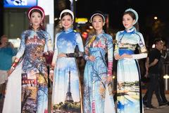 Người đẹp Việt thướt tha trong tà áo dài in hình danh lam thắng cảnh