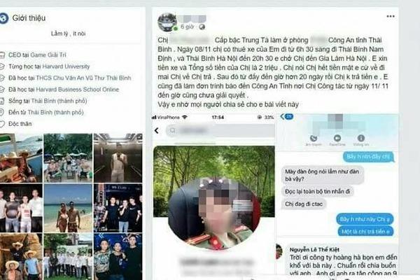 Xác minh nữ trung tá công an Thái Bình bị tố 'quỵt' tiền lái xe