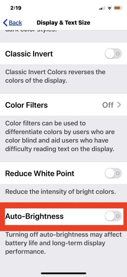 Cách bật tắt tính năng tự động điều chỉnh độ sáng màn hình trên iOS 13