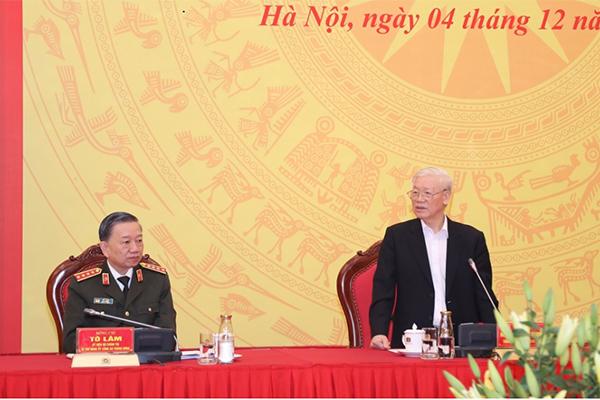 Tổng bí thư, Chủ tịch nước dự hội nghị Ban Thường vụ Đảng ủy Công an TƯ