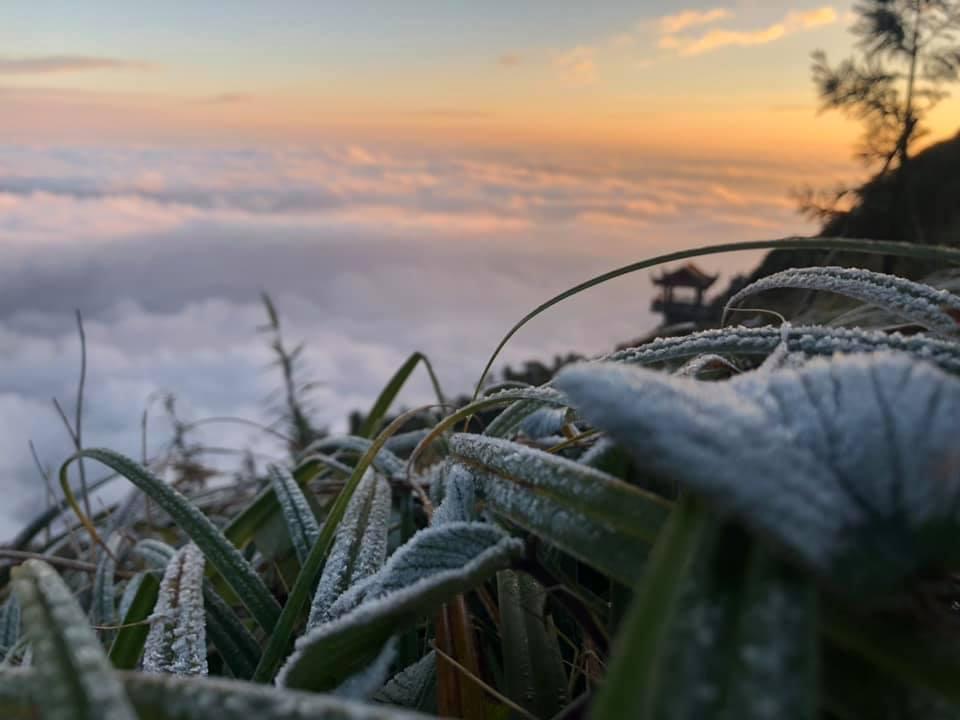 Âm 1 độ, băng tuyết đầu mùa phủ trắng đỉnh Fansipan