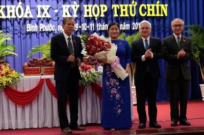Bà Trần Tuệ Hiền được bầu giữ chức Chủ tịch UBND tỉnh Bình Phước
