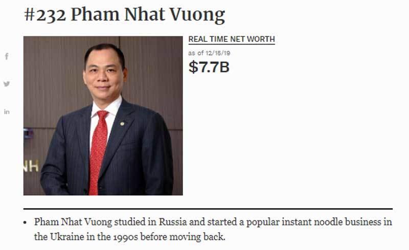 Tỷ phú Việt những tên tuổi ghi dấu thương vụ lớn cuối 2019