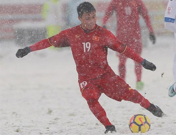 Quang Hai's goal in the snow selected as one of eight iconic strikes at AFC U23 Champs