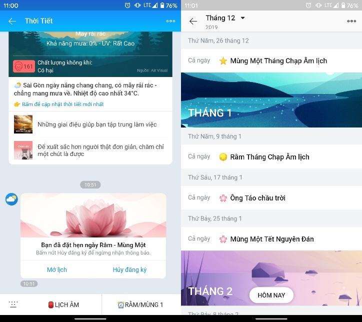 Cách xem ngày âm lịch từ Zalo trên Android và iOS