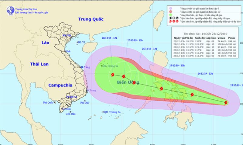 Bão giật cấp 11 hướng vào Biển Đông