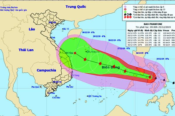 Bão Phanfone giật cấp 14 thẳng tiến Biển Đông
