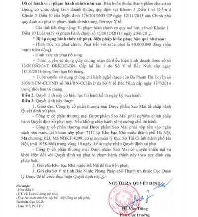 Phạt 40 triệu, tước giấy phép công ty dược phẩm Sao Mai
