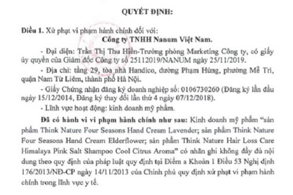 Phạt công ty Nanum 45 triệu đồng vì mỹ phẩm không ghi nhãn đầy đủ