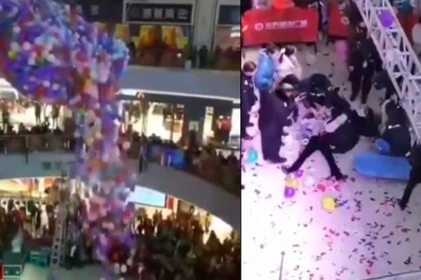 Dân Trung Quốc giẫm đạp lên nhau để nhặt bóng