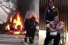 Cụ ông 72 tuổi nhanh trí cứu vợ ngồi xe lăn mắc kẹt trong xe hơi bốc cháy