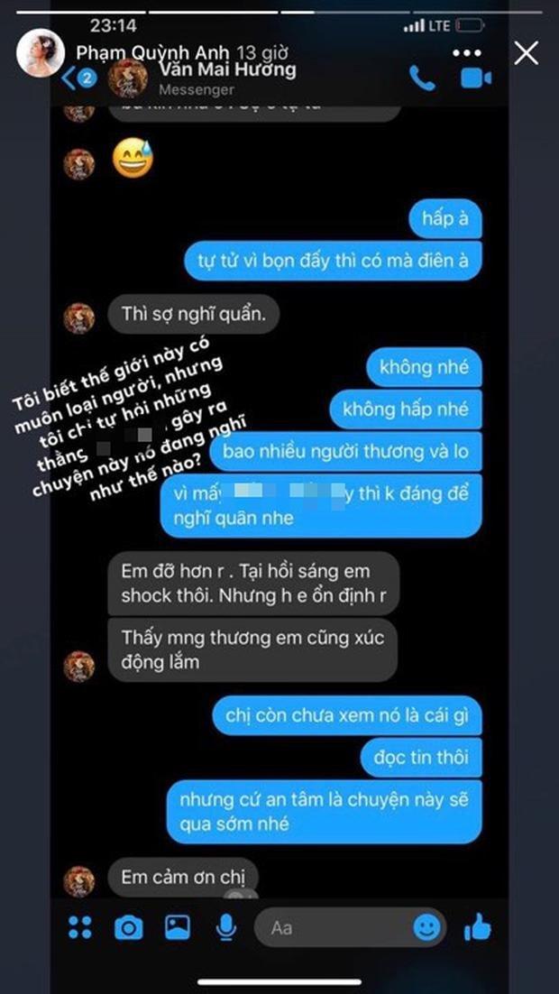 Phạm Quỳnh Anh thông báo sức khỏe của Văn Mai Hương đã ổn định
