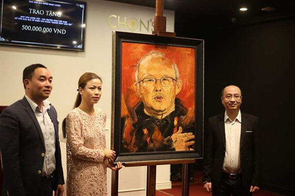 Portrait of coach Park fetches $12,000 for charity