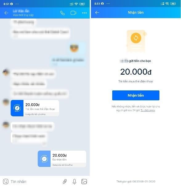 Cách chuyển tiền cho người thân, bạn bè ngay trên khung chat Zalo