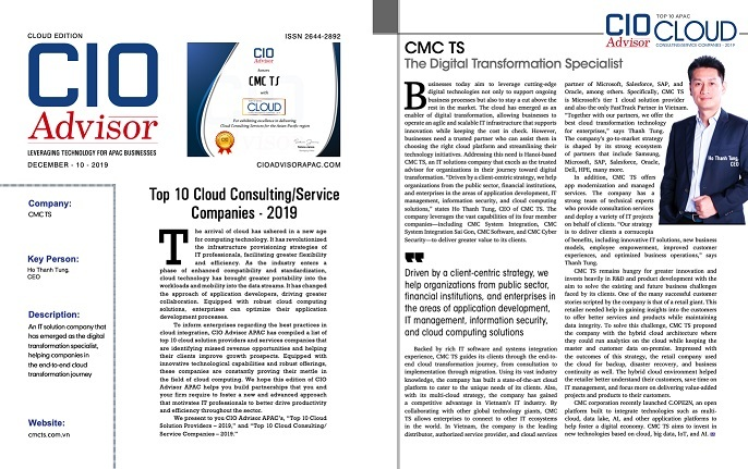 CMC Technology & Solution named Top 10 APAC cloud consulting and service companies