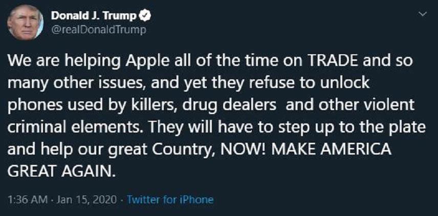 Donald Trump dùng iPhone gọi Apple yêu cầu bẻ khóa iPhone