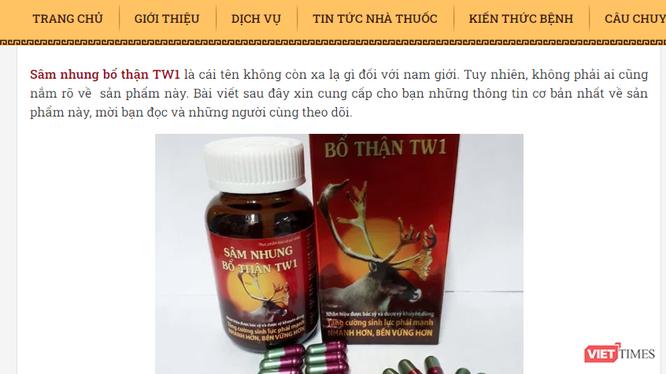 Quảng cáo thực phẩm bảo vệ sức khỏe Tinh sâm nhung bổ thận Dược liệu TW1 có dấu hiệu lừa dối người tiêu dùng
