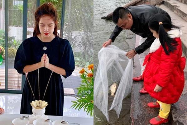 Sao Việt rộn ràng thả cá, làm cơm cúng ông Công, ông Táo