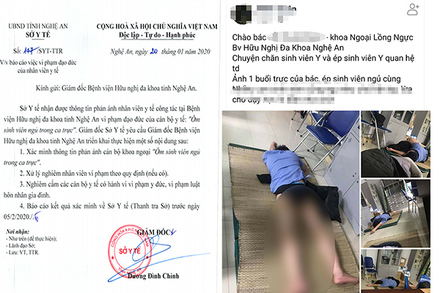 Tạm đình chỉ bác sĩ bị tố ôm sinh viên thực tập ngủ trong ca trực