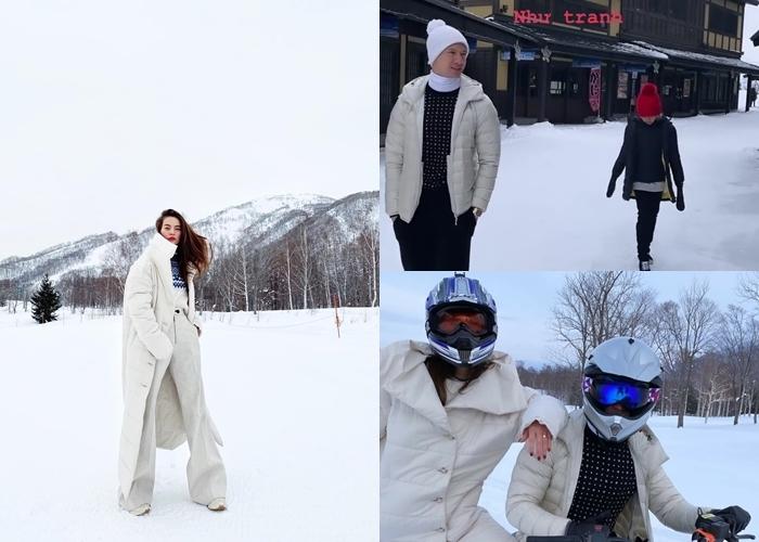 Chi Pu khoe dáng nóng bỏng, Hồ Ngọc Hà trượt tuyết cùng Kim Lý và con trai