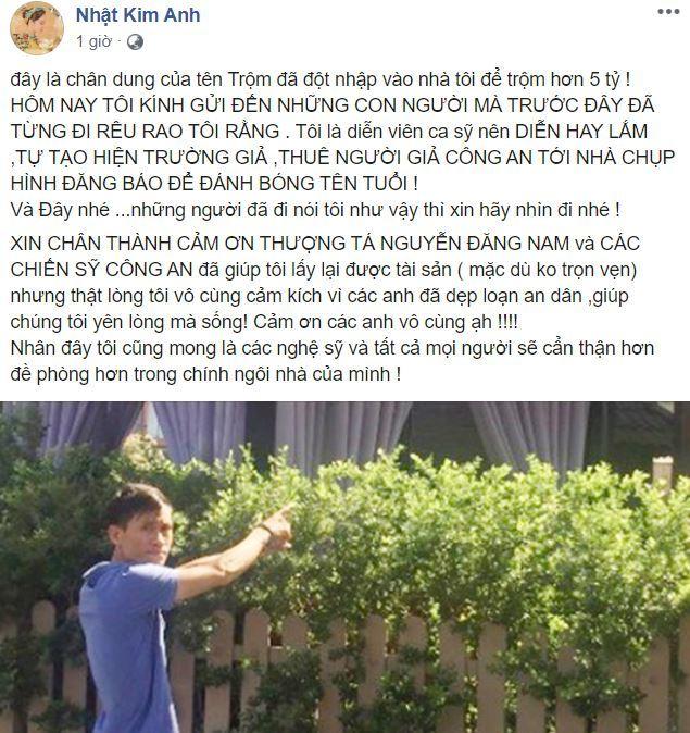 Nhật Kim Anh thông tin về gã trộm đột nhập nhà mình và các nghệ sĩ nổi tiếng