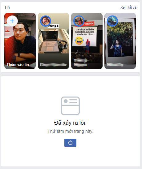 Facebook đang lỗi, người dùng không thể tải bản tin News Feed