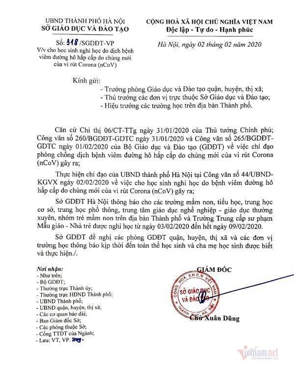 Học sinh Hà Nội nghỉ học 7 ngày phòng virus corona