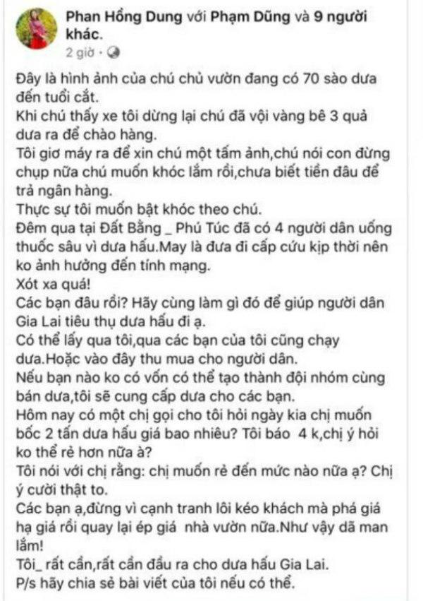 Người phụ nữ ở Gia Lai tung tin 4 người tự tử trên Facebook để bán dưa hấu