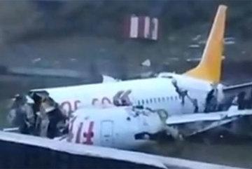 Kinh hoàng cảnh máy bay khách chạy quá đường băng, vỡ ba