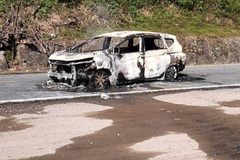 Car suddenly explodes in Quang Nam, killing two