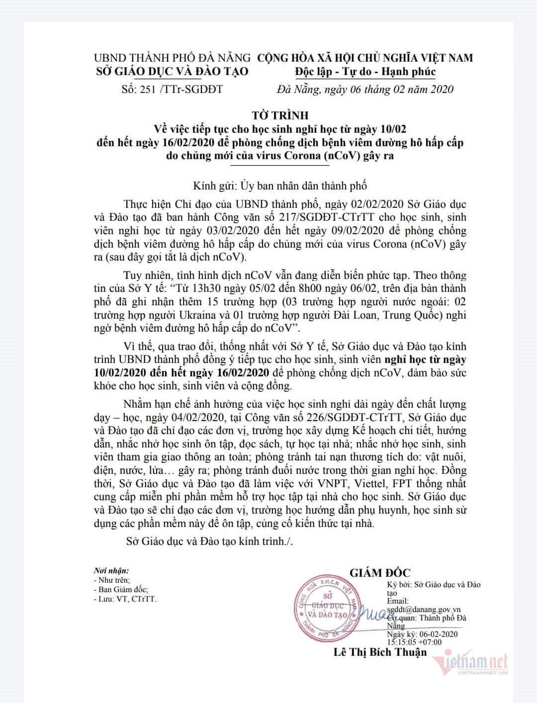 Sở GD-ĐT Hà Nội, Đà Nẵng đề xuất cho nghỉ học thêm 1 tuần