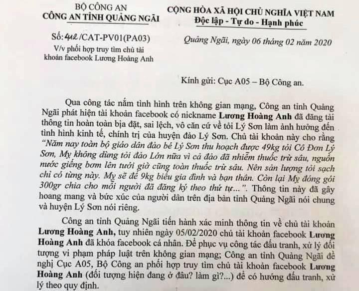 Loan tin tỏi Lý Sơn nhiễm thuốc trừ sâu: Đề nghị Bộ Công an xác minh chủ Facebook