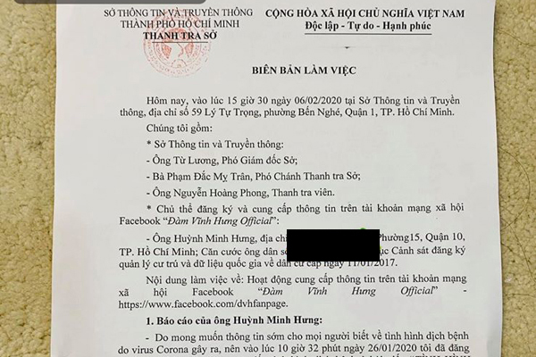 Đàm Vĩnh Hưng bị xử phạt khi tung tin đồn về virus Corona lên mạng