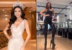 Hoa hậu Khánh Vân tập luyện catwalk trên đôi giày 40cm