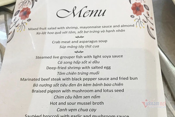 Thực đơn tại khách sạn 5 sao trong đám cưới Duy Mạnh - Quỳnh Anh