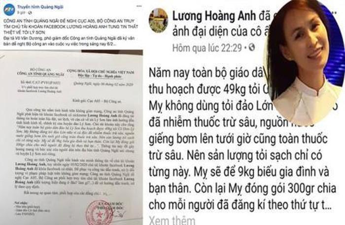 Tung tin sai về tỏi Lý Sơn, bà Lương Hoàng Anh bị phạt 12,5 triệu đồng