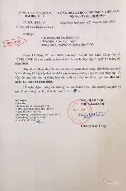 ĐHQG Hà Nội cho sinh viên nghỉ hết tháng 2
