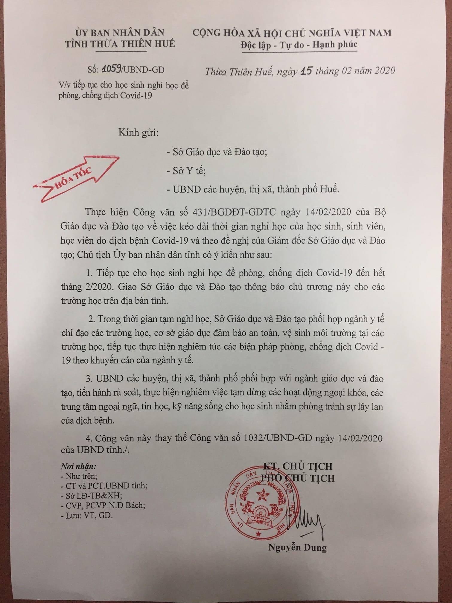 Sáng sớm, 34 tỉnh gửi công văn khẩn tiếp tục cho nghỉ học hết tháng 2