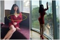 Phi Thanh Vân vô tư mặc đầm bó sát lộ ngực, photoshop đến nỗi cơ thể méo mó