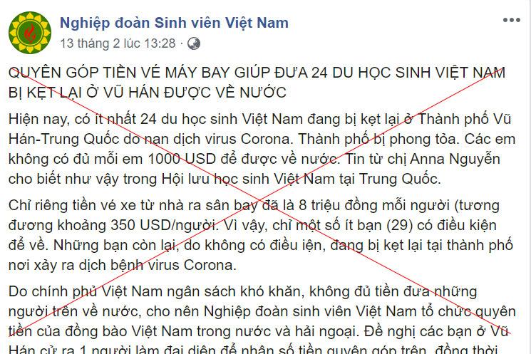Giả mạo kêu gọi quyên góp đưa 24 du học sinh Việt mắc kẹt ở Vũ Hán về nước