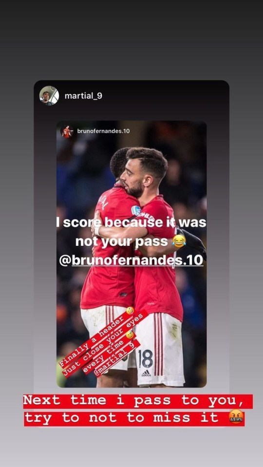 Bruno Fernandes 'cà khịa' lại Martial sau khi MU đại thắng Watford