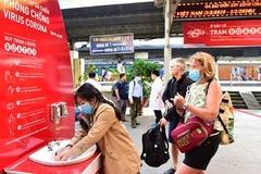 Trạm rửa tay chống dịch dã chiến phủ sóng ga tàu, bến xe