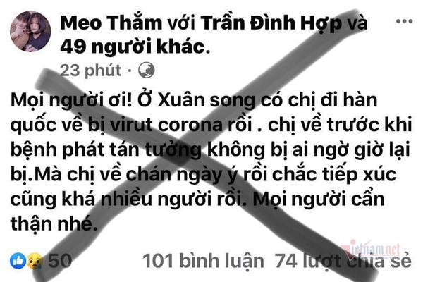 Triệu tập chủ facebook Meo Thắm tung tin người từ Hàn Quốc về nhiễm Covid-19