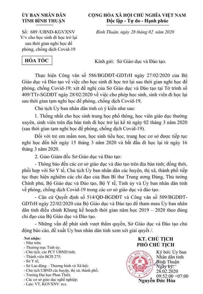 Bình Thuận kéo dài thời điểm đi học lại tới sau ngày 15/3