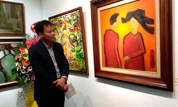 Exhibition,father and daughter artists,Nguyen Duc Sang,Nguyen Thuy Duong
