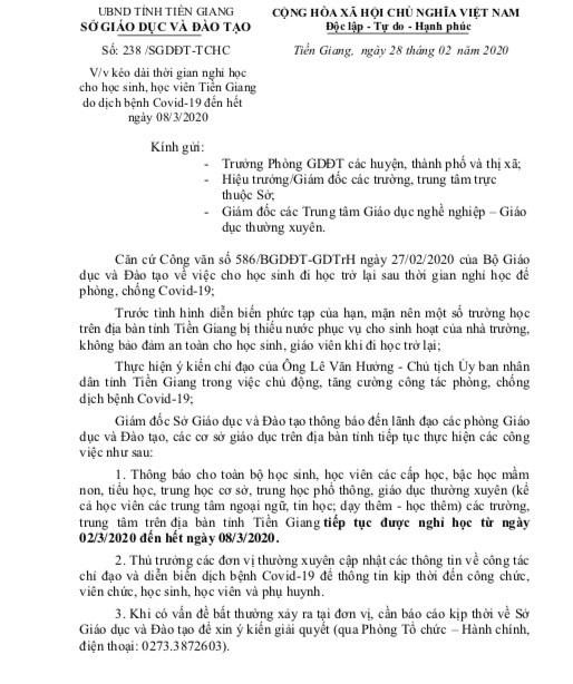 Dự kiến sau ngày 8/3, học sinh Tiền Giang trở lại trường