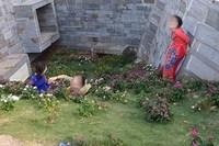 Nhóm phụ nữ lớn tuổi mặc áo dài ở Đắk Lắk rủ nhau dẫm lên cỏ 'sống ảo'